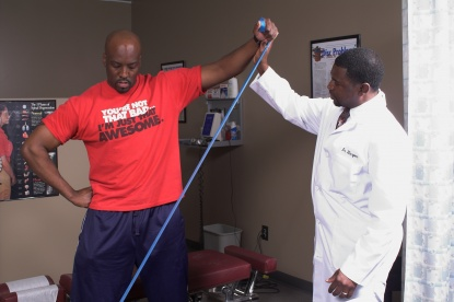 Dr Harper providing physical therapy